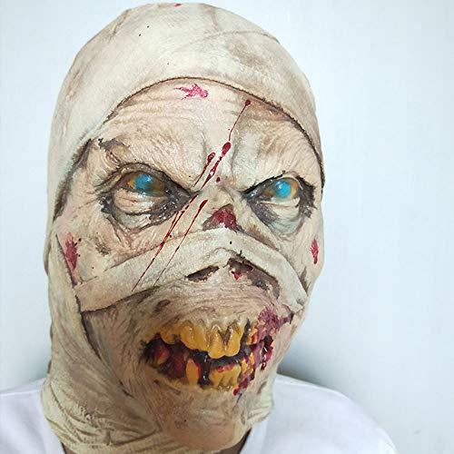 Halloween Kostüm Eine Beängstigend - Gummimaske, Zombie-Kostüm-Requisiten, Halloween Beängstigend Blutungen Zombie-Horror-Gesicht