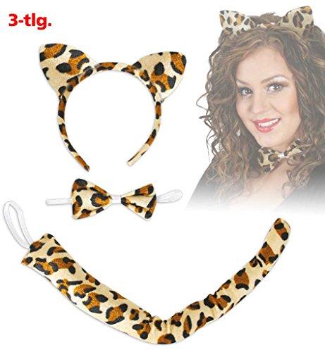 Set Leopard Haarreif Ohren Schwanz Leopardenschwanz Fliege Schleife Leo-Print Leo Kostümzubehör Mottoparty Themenabend Karneval