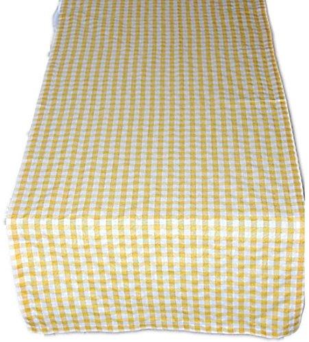 ecke Tischläufer Tischband Gelb Weiß Kariert Gartendecke Küchendecke Landhaus (Tischläufer 50x170 cm rechteckig) ()