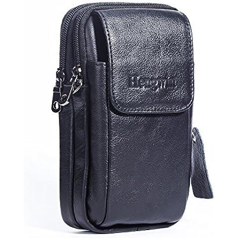 hengying Piel de Vaca auténtica doble cremallera cinturón bolsa Gadget monedero Cintura Pack Bolso Bandolera con correa para Samsung Note teléfonos/S6S7edge, Google Nexus 6, iPhone, Huawei, HTC One A9M9M8