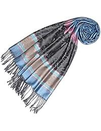 LORENZO CANA Designer Pashmina hochwertiger Marken-Schal jacquard gewebt mit Elefanten - Muster Modal Schaltuch 70 x 190 cm Tuch Stola Schal