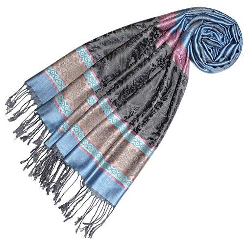LORENZO CANA Designer Pashmina hochwertiger Marken-Schal jacquard gewebt mit Elefanten - Muster Modal Schaltuch 70 x 190 cm Tuch Stola Schal 93311