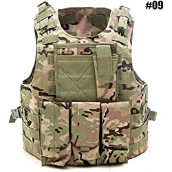 Chaleco Táctico de Caza Chaleco de Combate de Ajustable del Ejército, Chaleco Protector de la Placa de Asalto de Airsoft Paintball, Al Aire Libre Jungle Game Chaleco Protector con Bolsas Extraíbles (#09 - CP Camouflage)