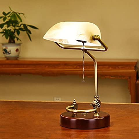 Retro-Massivholz-Glas-Tischlampe, Study Room Leselampe, Light Pole einstellbar, die Old Shanghai Bank Dekorative Lichter ( Farbe : Gelb )