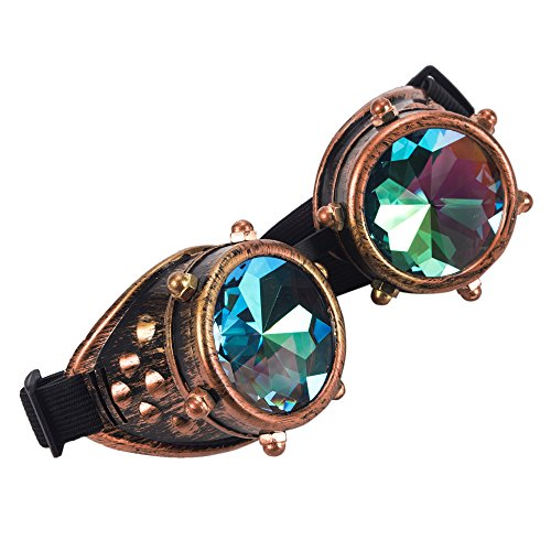 FLORATA Kaleidoscope Vintage Rustic Cyber Style Steampunk Goggles Welding Punk Glasses Multicolor Lens steampunk buy now online