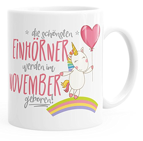 MoonWorks Geschenk-Tasse die schönsten Einhörner Werden im November Geboren Geburtstags-Tasse...