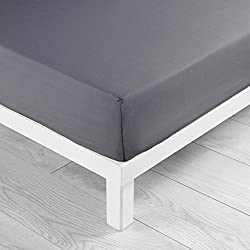 Douceur d'Intérieur Drap Housse Uni Coton Gris Souris 160 x 200 cm