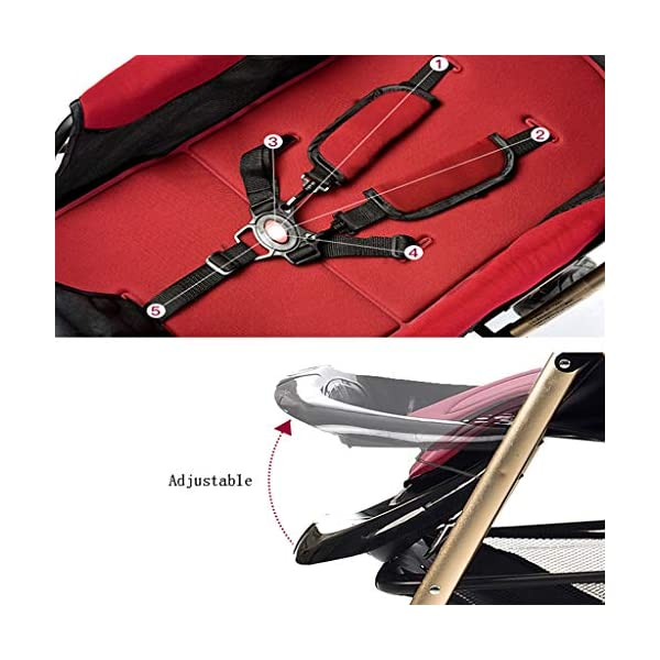 Luxury Baby Stroller Light High-Landscape Pram Portable Folding Umbrella Baby Carriage Baby Stroller on The Airplane (Color : Red) AILI-pushchairs Ten wheel front wheel four-wheel suspension, built-in bearing steering flexible four-wheel shock absorber to reduce bumps. It can be used to sit and recline freely to adjust the seasons. The measured width is wide and comfortable, creating a comfortable sleeping environment for the baby. 5