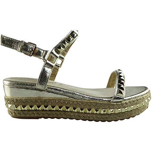 Da donna Le signore Cinturino alla caviglia Piattaforma Scarpe Cuneo sandali Dimensione 36-41 Oro
