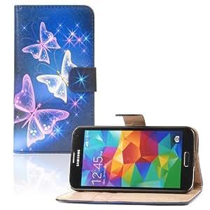 tinxi® Kunstleder Tasche für Samsung Galaxy S5 / S5 NEO Tasche Flipcase Tasche Etui Case Cover mit Karten Slot bunte Schmetterling