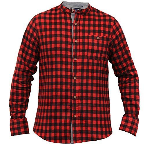 Chemise Pour Hommes Brave Soul Tartan À Carreaux Col Grand-père Manches Longues Coton Neuf Rouge/Noir - 69SPIRIT