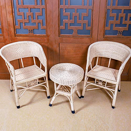 seeksungm Chair, Home Natural Hand-Woven Wicker Chair, Eco-Friendly Breathable Old Chair, Home Office Balcony Leisure Wicker Chair Three piece set (side)