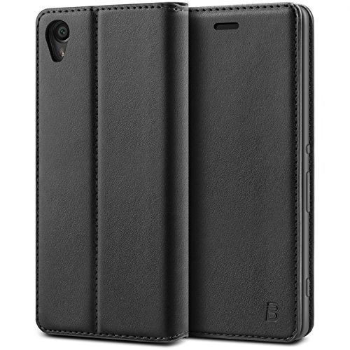 BEZ® Sony Xperia XA Hülle, Handyhülle Kompatibel für Sony Xperia XA Tasche, Flip Case Cover Schutzhüllen aus Klappetui mit Kreditkartenhaltern, Ständer, Magnetverschluss - Schwarz
