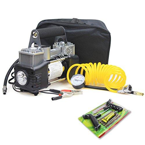 BACOENG 2-Zylinder Auto-Kompressor (Druckmanometer+ Reifen-Reparatursatz+ LED Taschenlampe+ tragbare Tasche) 150 PSI, 12 Volt