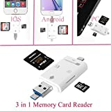 SEC i-Flash Device HD TF & SD Memory Card Reader Adapter USB 8 Pin Memory Stick for iPhone/iPad/iPod Touch/Android -White