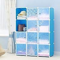 Preisvergleich für BigButterflyde DIY Kleiderschrank Schrank Steckregal 12-Kubus Regalsystem Kleiderschrank Garderobenschrank für Kleidung, Schuhe, Spielzeug und Bücher
