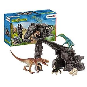 Schleich- Colección Set de 3 Figuras de Dinosaurios con Cueva, Accesorios y Funciones, Multicolor (41461)