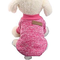 Tongshi 8 color perro mascota cachorro clásico suéter polar suéter ropa caliente suéter de invierno (S, Hotpink)