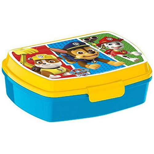 Paw Patrol Brotdose Lunchbox blau gelb - ideal für die Pause in Kindergarten und Vorschule - Brotdose mit praktischem Clipverschluß - 17.0 x 14,5 x 5,6 cm