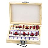 seamall 15-teiliges Fräser-Set, 1/4 Inch Schaft, Wolframcarbid, Holzfräser, Werkzeuge mit Schraubenschlüssel