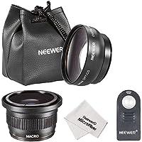 Neewer® 52MM Fotocamera e Videocamera Obiettivi con Macro & IR Wireless Telecomando Kit per NIKON DSLR Fotocamera, come NIKON D7100 D7000 D5200 D5100 D5000 D3300 D3200 D3000 D90 D80, Kit Include: 52MM 0.45x Grandangolo + 52MM 0.35x HD Super Fisheye + Staccabile Macro Obiettivo+IR Wireless Telecomando Sostituibile per ML-L3+Panno di Pulizia in Microfibra+Borsa per Obiettivi