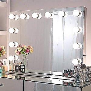 Chende Tabletop Rahmenlos Hollywood Spiegel mit Beleuchtung, Groß Schminkspiegel mit Licht für Schminktisch, LED beleuchtet Grosser Kosmetikspiegel mit 12 Glühbirnen für Schlafzimmer(80cm X 60cm)