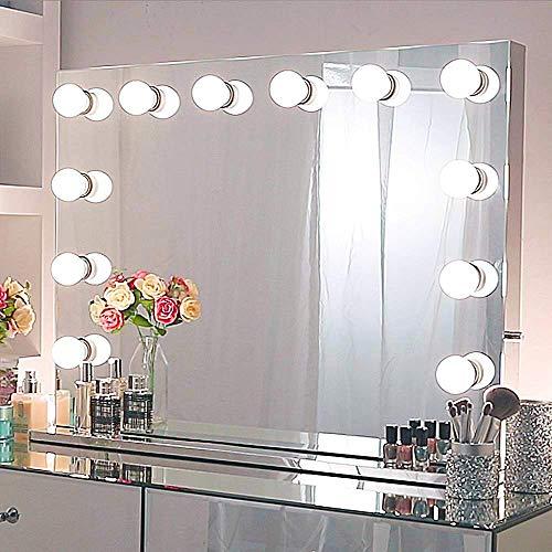 Chende Tabletop Rahmenlos Hollywood Spiegel mit Beleuchtung, Groß Schminkspiegel mit Licht für Schminktisch, LED beleuchtet Grosser Kosmetikspiegel mit 12 Glühbirnen für Schlafzimmer(80cm X 60cm) -