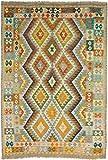 CarpetFine: Kelim Afghan Teppich 175x260 Blau,Grau,Grün - Geometrisch