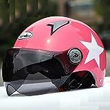 Elektrische Autos Motorrad Schutzkappe Komfortable Sicherheit Bequemlichkeit Reise Männer und Frauen Halbhelm Sommer Senden Masken ( Farbe : Pink )