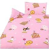 3 tlg. Kinder Baby Bettwäsche Set - 100x135 cm + 40x60 cm + 1 Spannbettlaken 70x140 cm - 100% Baumwolle (Zirkus)