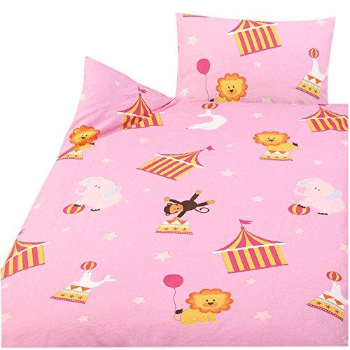 3 tlg. Kinder Baby Bettwäsche Set - 100x135 cm + 40x60 cm + 1 Spannbettlaken 70x140 cm - 100% Baumwolle (Zirkus) (Baby Mädchen Teddy-bettwäsche-set)