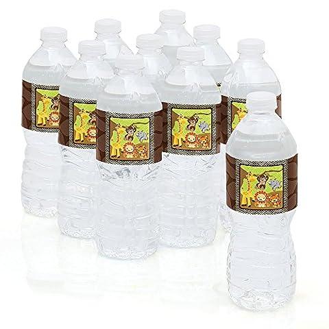 Funfari - Fun Safari Jungle - Party Water Bottle Sticker Labels - Set of 10