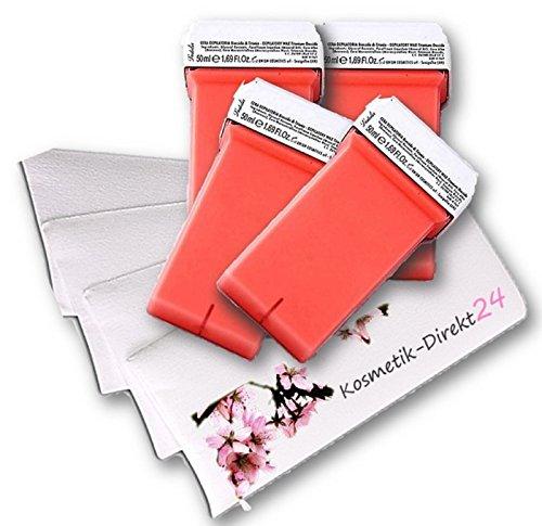 4 cartouches de cire épilatoire 50 ml Rose avec Bandes dépilatoires Recharges Convient pour Appareil Veet Easy Wax