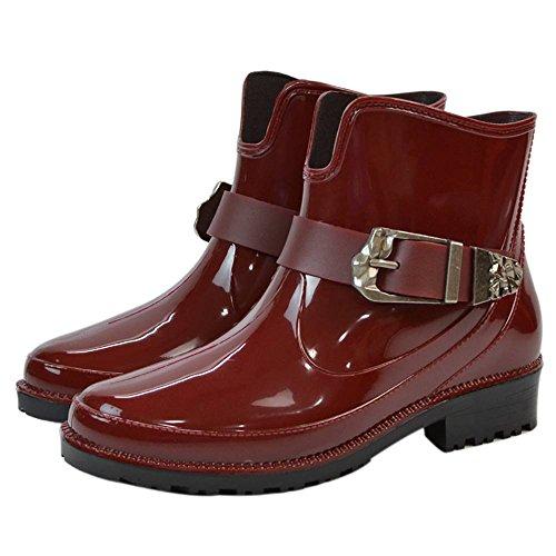 Popoye Regenschuhe für Damen, wasserdicht, Gummi, Jelly, Rot - weinrot - Größe: 39 1/3 (Burberry Stiefel Regen)