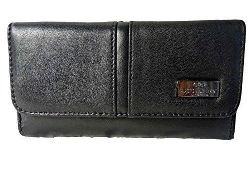 Grand Noir encadré Sac à main Porte-monnaie 20 Fente Carte Crédit 2 Pièce Plateau QL230
