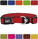 DDOXX Hundehalsband Air Mesh | für große & Kleine Hunde | Katzenhalsband | Halsband | Halsbänder | Hundehalsbänder | Hund Katze Katzen Welpe Welpen | klein breit Leuchtend bunt | Rot, M