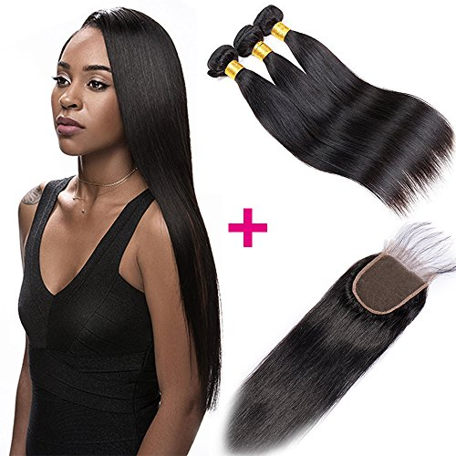 Tissage Bresilien en Lot 3 avec Closure Mèche Bresilienne Lisse - Extension Cheveux Naturel Noir - Grade 7A Unprocessed Brazilian Virgin Human Hair Extensions - 10\