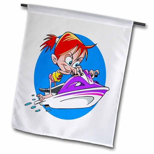 3drose FL _ 211685_ 5,1cm Girl On Jet Ski Film'Garten Flagge, 45,7x 68,6cm