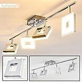 LED Deckenleuchte Krakau in Chrom mit 4 verstellbaren Leuchten-köpfen - Deckenstrahler 4-flammig mit 1400 Lumen und 3000 Kelvin