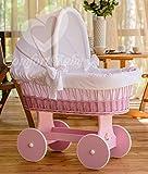 ComfortBaby ® Snuggly Baby Stubenwagen - komplette 'all inclusive' Ausstattung - Zertifiziert & Sicher (Rosa - Weiß)
