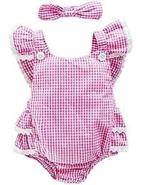 Vestidos Bebé,Switchali Niñito Infantil Recién nacido Bebé Niña Cabestro bowknot jumpsuit algodón Mono + venda Traje de baño Ropa Niñas moda linda Romper 0~18 meses barato