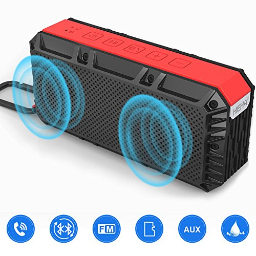 Hieha Altavoz Estéreo Bluetooth Portátil de 16W, Altavoz Inalámbrico Bass Potente con Micrófono, Impermeable IPX6 Multi Función de FM Radio, Garantía de 24 meses en 12 horas