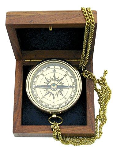 Kompass mit Ankergravur und Kette in edler Holzbox