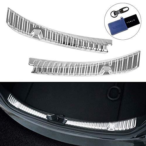 Model 3 Kofferraum Stoßstangenschutz, Edelstahl Chrom Ladekantenschutz, Heckstoßstange Protector Guard für die hinteren Kofferraumwanne Stoßstangenschutz (Silber)