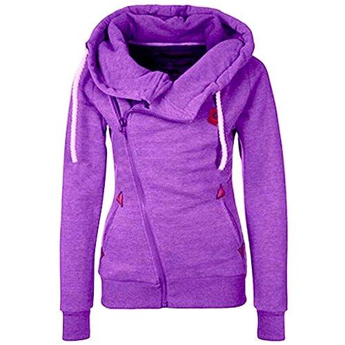 Kapuze Pullover Langarm Zipper Hoodie Reißverschluss Sweatshirt Solid Color Outwear Oberteile Frauen Damen