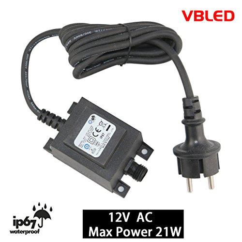 VBLED® 21W Netzteil / Trafo / Transformator 12V AC wassergeschützt IP67 für Außen- & Innenbereich, Input 230V Anschluss IP44 1,9 m Kabel für Gartenspot / Gartenstrahler