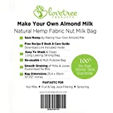 Love Tree Products Hemp Nut Milk Bag - Best Premium Quality Organic Almond Milk Strainer Including Free Recipe E Book - Large Reusable Strong Fine Hemp Mesh Bag - Smooth Nut Milks & Juices Every Time With A No Risk 100% Money Back Guarantee. Size 10x12 inches
