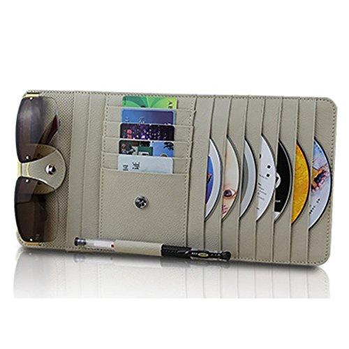 Echtes Leder 10Taschen Auto Sonnenblende CD DVD Organizer, Auto Sonne Visier Aufbewahrung, CD-Halter, CD Visor Organizer für Auto mit Brille und Stifthalter Beige -