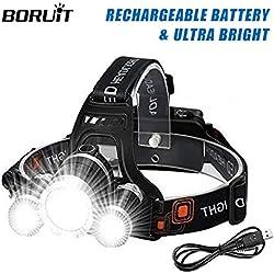 BORUIT Wesho Rechargeable avec 3 lumières 4 Modes, 6000 lumens IPX5 Étanche, Lampe Frontale LED Super Lumineuse avec Câble USB et 2 Batteries