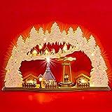 SIKORA LB59 großer XL LED Holz Schwibbogen mit drehender Pyramide WEIHNACHTSMARKT